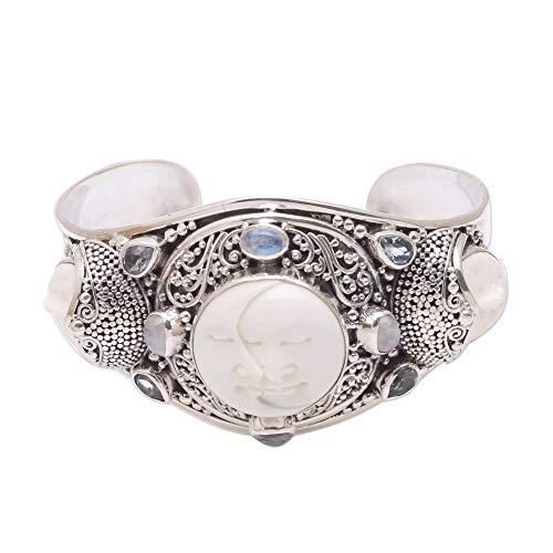NOVICA Multi-Gem Blue Topaz .925 Sterling Silver Bone Cuff Bracelet, Keeper of the Moon'