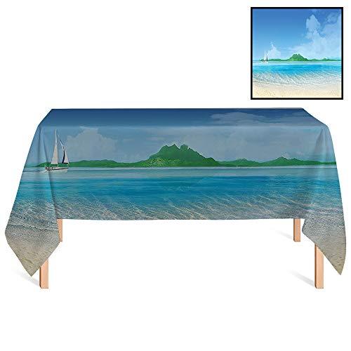 (SATVSHOP Tablecloth /70x132 Rectangular,Tropical Yacht Boat in The Sea Marine Adventure at Island Coastal Charm Cream Blue Fern Green.for Wedding/Banquet/Restaurant.)