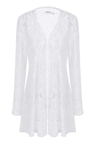 Meaneor Women's Lace Crochet Sheer Long Sleeve Waterfall Open Front Cardigan Style-4 White L