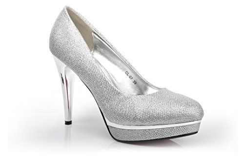 Silver Glitter Platform Evening Wedding High Heel Bridal Shoes