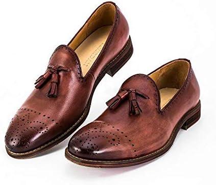 Zhuxin Mocasines de Cuero Genuino Mocasines Bullock Zapatos Bordados tallados Marca Oxford Hechos a Mano Zapatos para Hombres (Color : Brown, Size : 41-EU): Amazon.es: Hogar