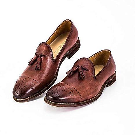 Ruiyue Mocasines de Cuero Genuino Mocasines Bullock Zapatos Bordados tallados Marca Oxford Hechos a Mano Zapatos