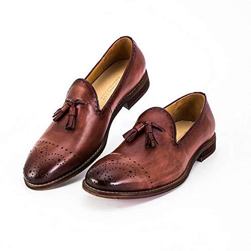 Hombres Zapatos para EU Mocasines Genuino a 43 Cuero Oxford tallados Mano Color Bordados Bullock Size Zapatos Mocasines Brown Ruanyi Marca Hechos de Brown YZwx1naq4