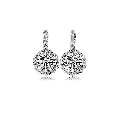 Platinum Plated 1CT Round Cut Hola Cubic Zirconia Stud Earrings, CZ Fashion Studs for Girls, CZ Stud Earrings, Fashion Earrings, CZ earrings, Cubic Zirconia Earrings, by CRYSTAL LEMON Cubic Zirconia Platinum Earrings