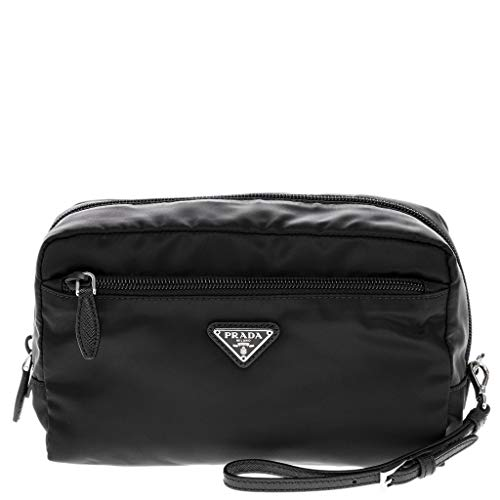 Prada Black Fabric Cosmetic Pouch with Front Zip Pocket and Wrist ()