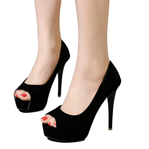 2 Noir Pompes Sexy chaussures Party Heels Stiletto rondes High Xianshu à poils Nightclub Womens Pompes 6OAqWa