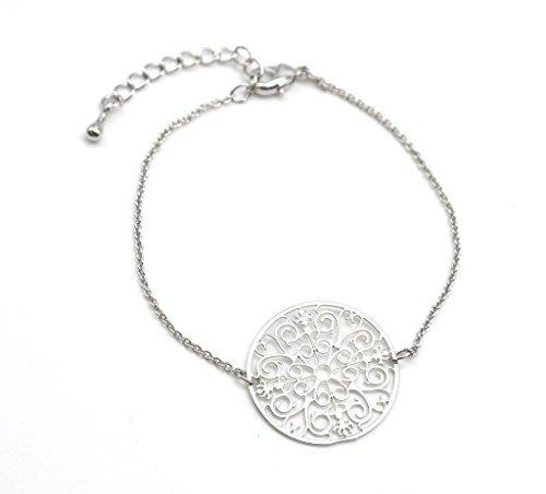 BC1191F - Bracelet Fine Chaîne avec Charm Cercle Arabesques Métal Argenté - Mode Fantaisie