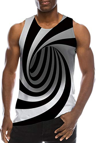 Tank Tops for Men Cool Striped Black White 3D Digital Realistic Tie-Dye Printing Muscle Workout Compression Spandex Underwaist Fun Bro Boat Jersey Ringer Swimming Party Casual Vest Dad T Shirt Clothes