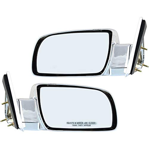 Manual Mirror compatible with Chevy C/K Full Size Pickup 88-02 Right and Left Side Manual Folding Non-Heated Standard Type Chrome