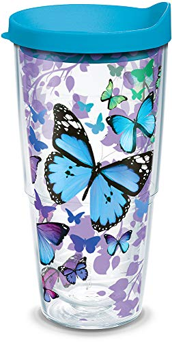 Tervis 1312394 Blue Endless Butterfly Insulated Tumbler with Wrap and Turquoise Lid, 24oz, Clear