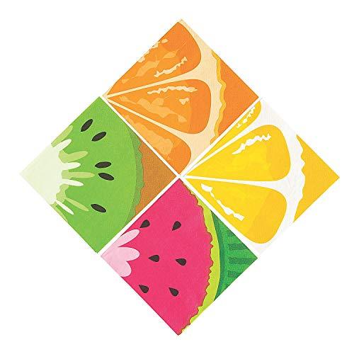 Napkins Fruit - Fun Express - Tutti Frutti Fruit Print Bev Napkin for Party - Party Supplies - Print Tableware - Print Napkins - Party - 16 Pieces