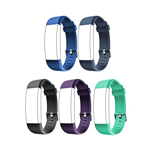 Letsfit ID130Plus HR Replacement Bands, Adjustable Accessory Bands for Fitness Tracker ID130Plus HR, ID130Plus Color HR, 5 Pack (Black, Blue, Purple, Grey, Green) by Letsfit