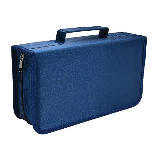 Siveit 128 Capacity CD/DVD Case Wallet, Binder, Storage, Holder, Booklet for Car, Home, Office and Travel (Blue)