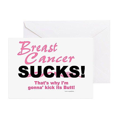 CafePress Breast Cancer Sucks (Kick Its Butt) Greeting Card, Note Card, Birthday Card, Blank Inside Glossy