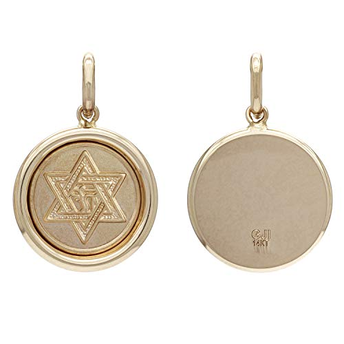 14K Yellow Gold Embossed Star of David with Chai Symbol Round Medal Pendant