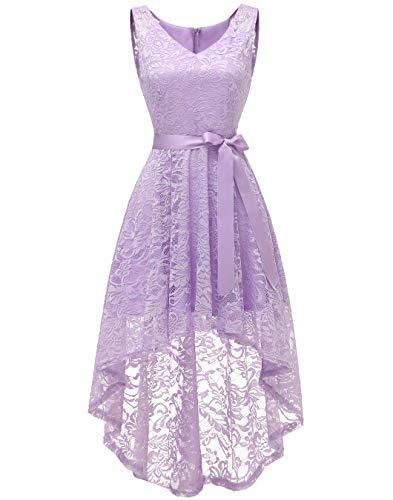 (BeryLove Women's Floral Lace Hi-Lo Bridesmaid Dress V Neck Cocktail Formal Swing Dress BLP7018Lavender 2XL)