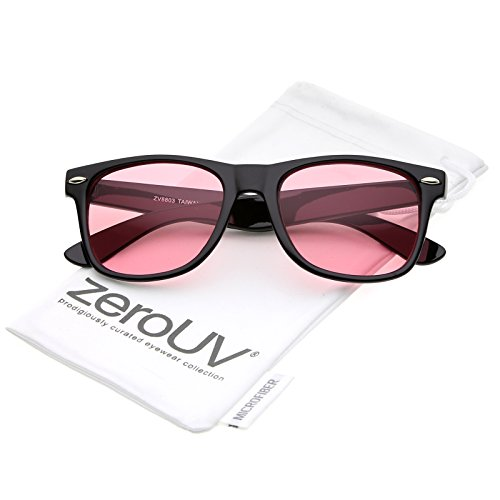 Retro Wide Temple Color Tinted Square Lens Horn Rimmed Sunglasses 54mm (Black/Pink)