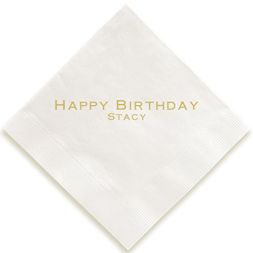Personalized Expression Napkin - Foil-Pressed (White)