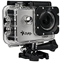 Action Camera 2 inches, Ultra Wide 110 Lens, 12 mpx Video HD 1920x1080 AVI Format Waterproof Housing, MicroSD Slot, Rechargeable Battery, STYLOS TECH