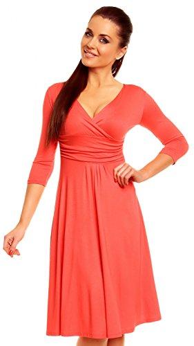 Zeta Ville Women's V Neck 3/4 Sleeve Casual Jersey Dress 282z Coral (Jersey V-neck Dress)