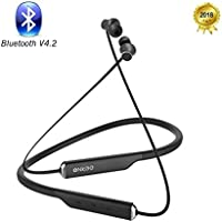 Onkee Bluetooth Headphones V4.2 Hands Free Calls 15 Hours Playtime, Wireless Sports Headsets Neckband Earbud with MIC IPX4 Water Resistant for Running Ergonomic Design Lightweight & Fast Pairing(Black)