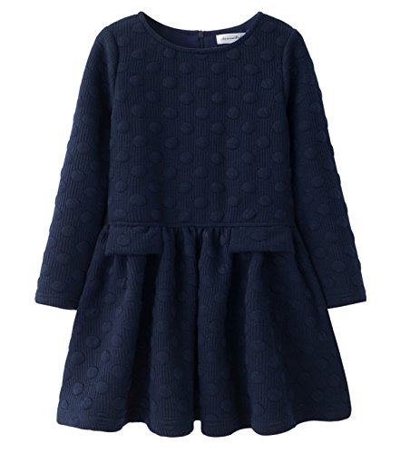 AuroraBaby Little Big Girls Casual Thick Warm Dresses Long Sleeve Blue Cotton Lining Dress For 7-8 Years -