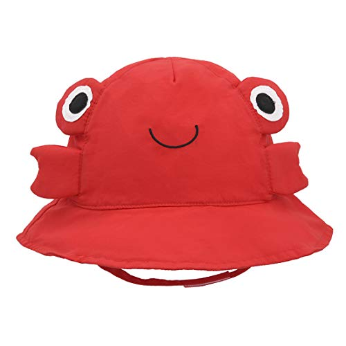 Baby Sun Bucket Hat Animal - Toddler Boy Quickly Dry Sun Protection Beach Hat (L 50/12-24 Months, Crab)