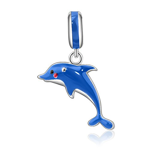 AMATOLOVE Ocean Blue Cute Dolphin 925 Sterling Silver Charm Bead Pendant for Bracelets Jewelry