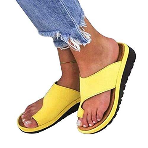 2019 New Women Comfy Platform Sandal Shoes Summer Beach Comfortable Ladies Shoes Travel Shoes Fashion Sandals (42, Yellow)