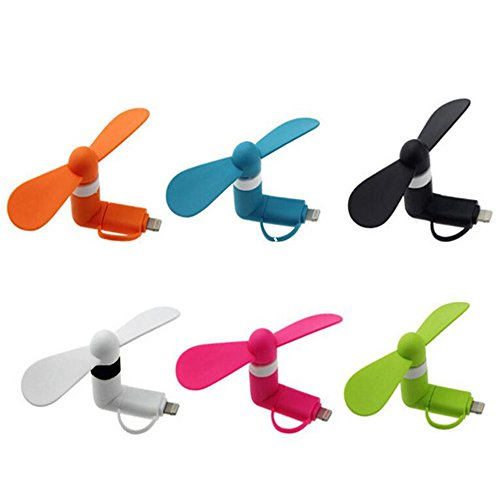 Mini Cell Phone Fan - Colorful and Powerful 2-in-1 Fan for iPhone/iPad /Android Smartphone/Tablet - Cell Phone Summer Accessories - Black/White/Pink/Blue/Green/Orange(6 Pcs)