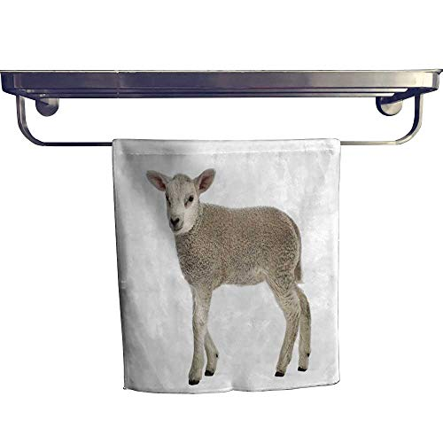 Leigh home Cotton Beach Towel,Lamb Weeks Isolate on White ,Absorbent, Machine Washable, Towel W 14