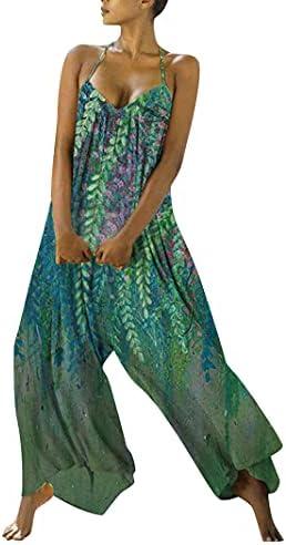 DeuYeng Vrouwen Casual Baggy Overalls Mouwloze Bohemian Lange Pant Brede Been Rompers Patchwork Jumpsuit met Zakken Y2k Outfit XL