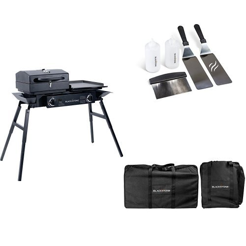 Blackstone Tailgater Portable Gas Grill and Griddle Combo With Barbecue Box and Open Burner Stove - Great for Hunting, Fishing, Camping and Tailgating with Cover and Griddle Tool Kit