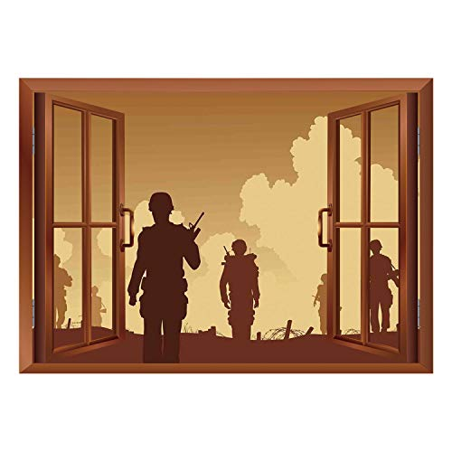 SCOCICI Creative Window View Home Decor/Wall Décor-War Home Decor,Soldier Shadows with Military Costumes and Weapons Walking on Patrol Print,Brown Cream/Wall Sticker Mural