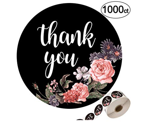 - Floral Thank You Stickers-1.4 inch, 1000 Pack of Round Adhesive Labels for Baby Shower, Wedding, Graduation, Birthdays, Business.