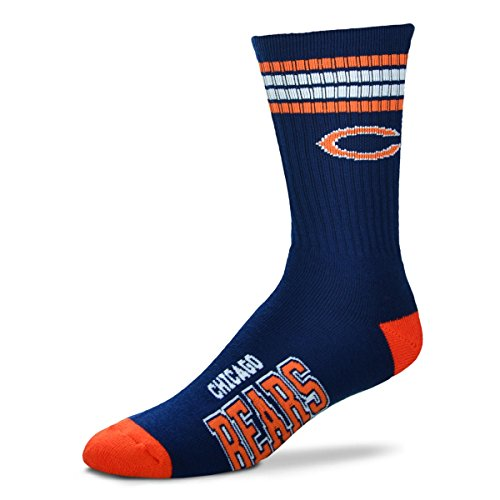 Chicago Bears 4 Stripe Deuce Navy Socks, Medium