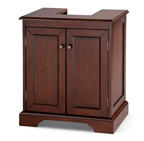 Weatherby Bathroom Pedestal Sink Storage Cabinet - Walnut by Palos Designs
