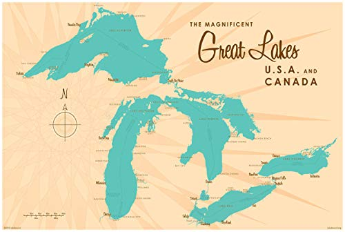 Great Lakes Vintage-Style Map Art Print Poster by Lakebound (24