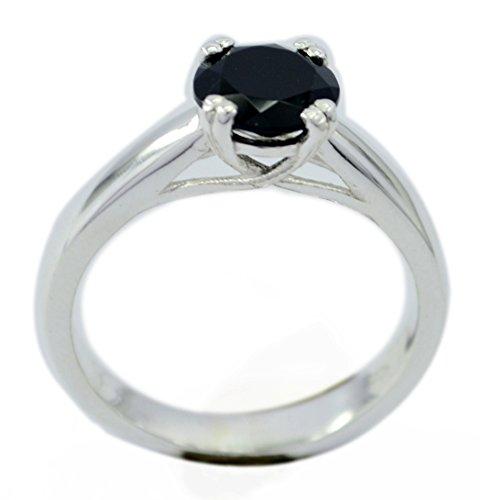 Gemsonclick Genuine Black Onyx Ring Sterling Silver Prong Style Round Shape Handmade Size 5,6,7,8,9,10,11 - Onyx Flower Shaped Ring