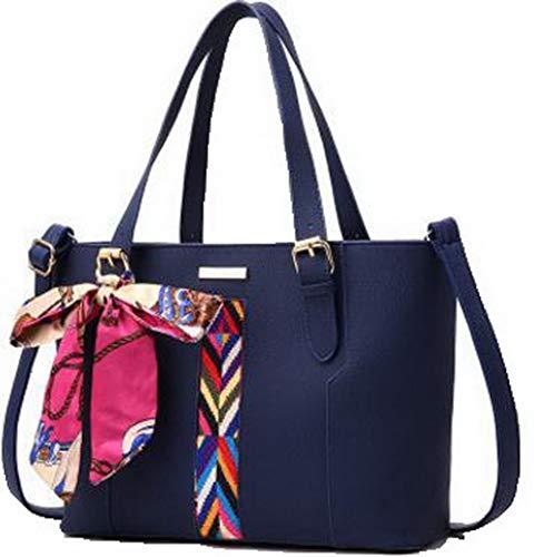 AllhqFashion FBUIBC181786 a Dacron Azzurro tracolla Nero Donna Borse Shopping Moda cerniere 1nxqw8UBr1