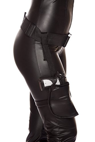 Roma Costume Women's Leg Holster With Connected Belt, Black, One (Costume Gun Leg Holster)
