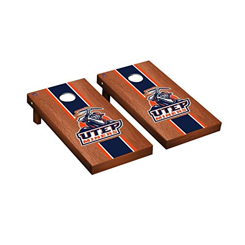 Victory Tailgate Regulation Collegiate NCAA Rosewood Stained Stripe Series Cornhole Board Set - 2 Boards, 8 Bags - Texas El Paso UTEP Miners (El Paso Board Game)