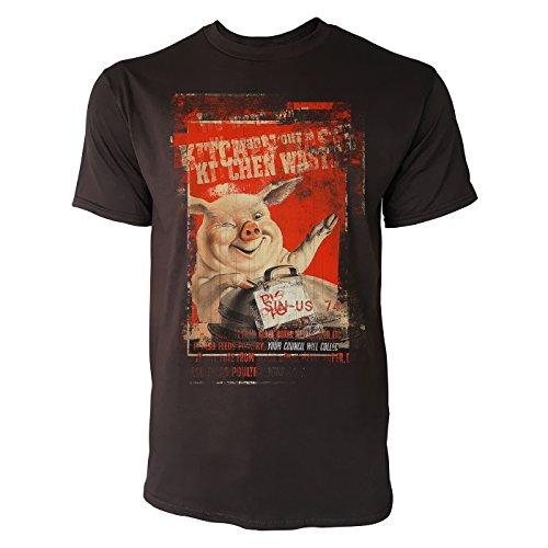 SINUS ART® Happy Pig Herren T-Shirts braunes Cooles Fun Shirt mit tollen Aufdruck