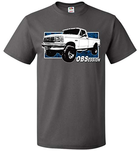 Charcoal Cab - OBS Ford Truck T-Shirt with Single Cab F250 F350 Charcoal Grey