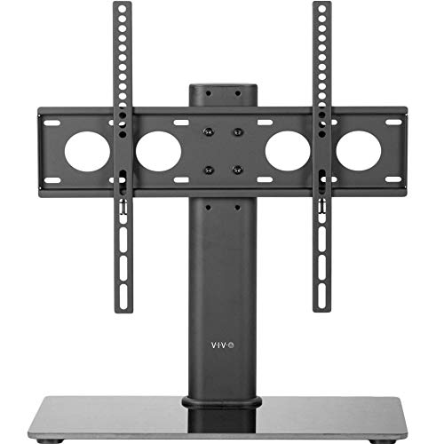 VIVO Black TV Table Top Stand with Sleek Tempered Glass Base & Cable Management | Universal VESA Mount for LCD LED Flat Screens 32