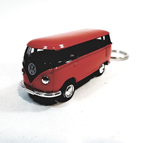 Kinsmart Orange & Black Two Tone 1962 VW Volkswagen (Hippie) Bus Keychain 1/64 Pastel Color Diecast Car (Bus Vw Hippie)