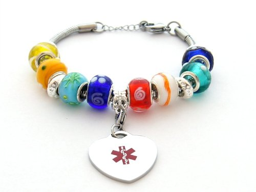 Multi-color Beaded Style Medical ID Bracelet (Free Engraving) (Hope Beaded Bracelet)
