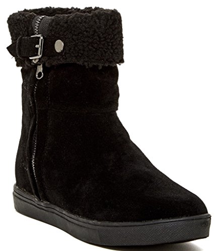 Modern Rebel Bessina Womens Fashion Foldover Faux Shearling Cuff Boots, Black, Size 9, US (Cuff Boots Shearling)