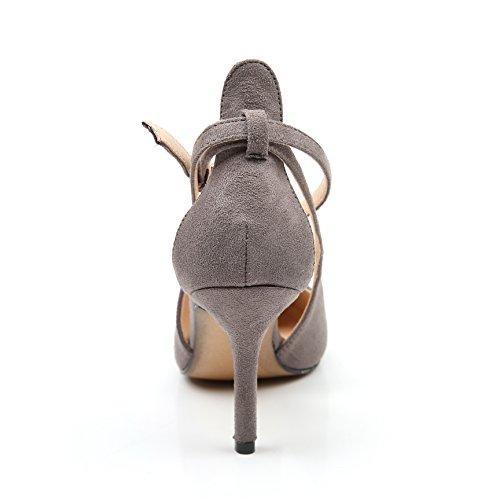 Gris Fermés Chaussures Talons Hauts Escarpins Pointu Sandales Escarpin Aiguille Femme Résistant vUnfgH
