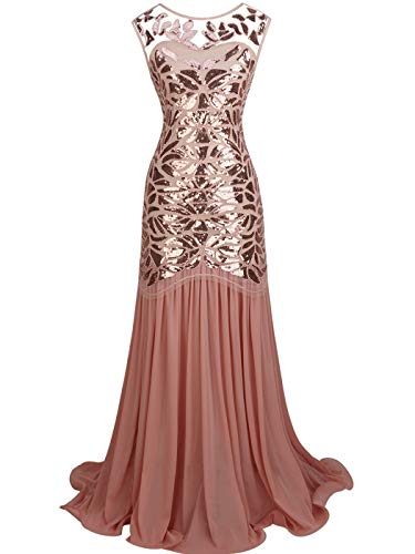 (FAIRY COUPLE Women's Maxi Long 1920s Gatsby Dresses Sequined Embellished Prom Evening Dress S Rose Gold)